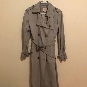 Loft grey long trench coat with belt